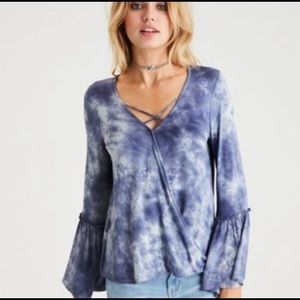 American Eagle Soft&Sexy Bell Sleeve Tie Dye Shirt